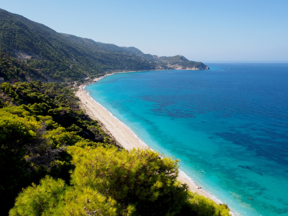 Pefkoulia beach near the Agios Nikitas village on Lefkada, Greece